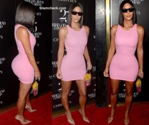 Kim Kardashian in Pink Snug Dress at 25th Anniversary of 'What Goes Around Comes Around'
