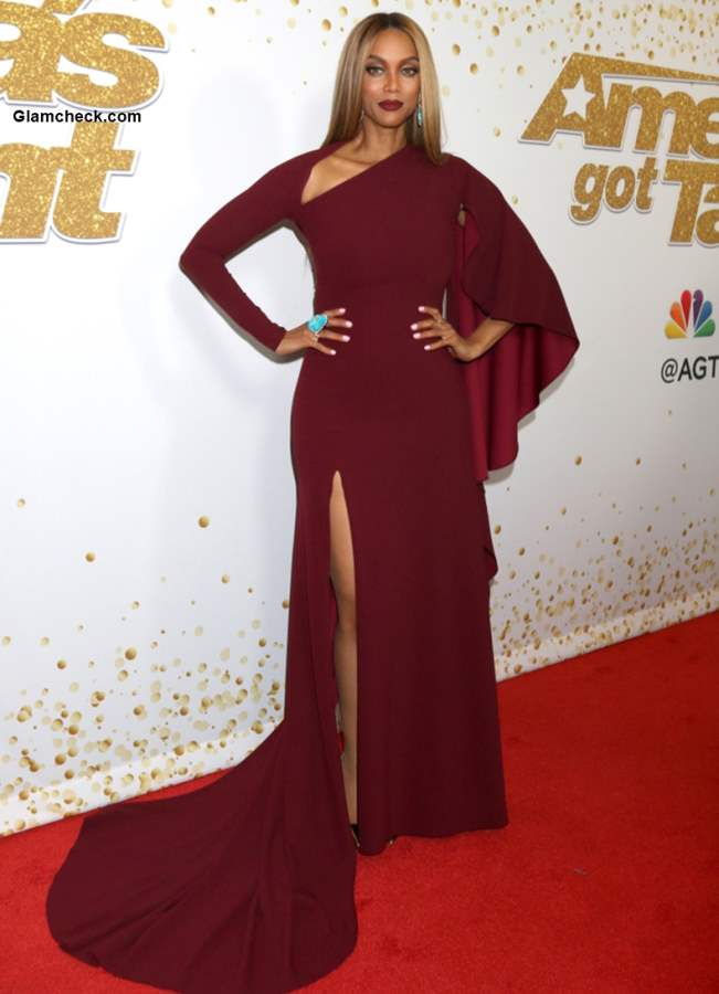Tyra Banks Burgundy Gown at the AGT Live Show Red Carpet