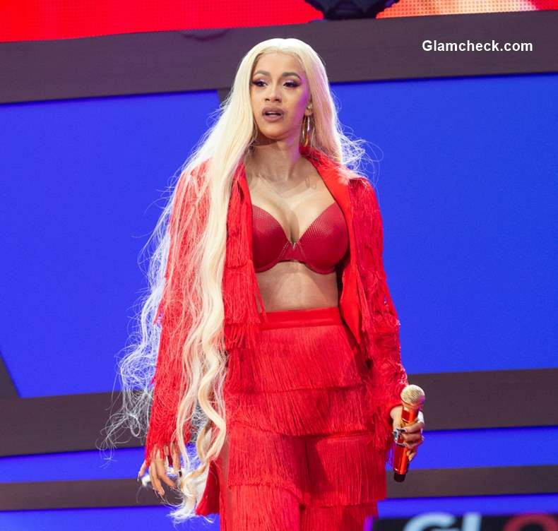 Cardi B at 218 Global Citizen Festival Long Hair