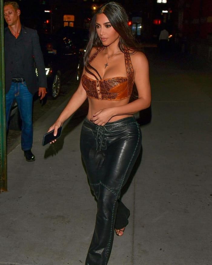Kim Kardashian 2021 Wears Leather Bustier Top with Pants
