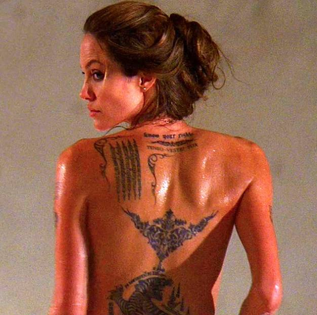 Angelina Jolie tattoos, back