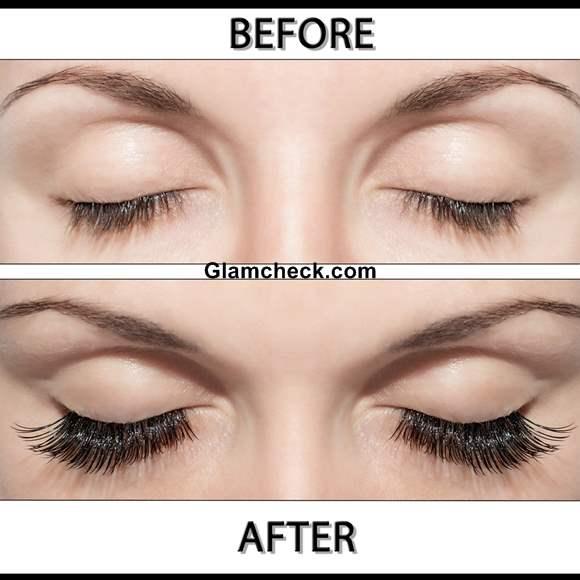 False Eyelashes before and after