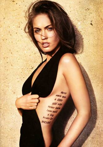 Megan Fox tattoos, back