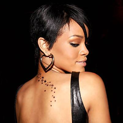 celebrity neck tattoos. Rihanna neck tattoo - 1