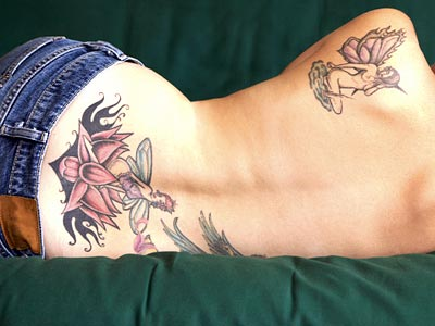 back tattoos flower