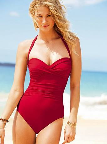 halterneck one-piece swimsuit