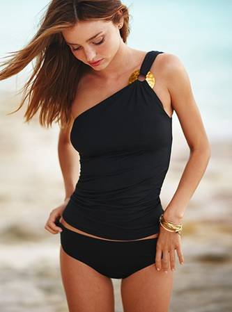 one shoulder tankini