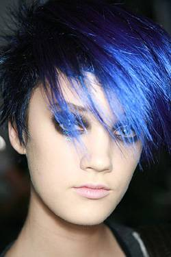 Blue funky hair color