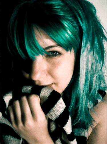 Funky green hair color (2)