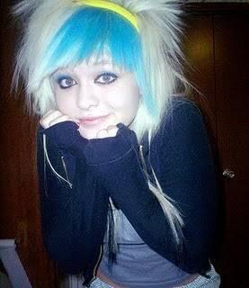 Funky hair color blue