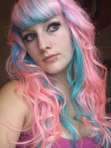 Pink and blue hair color