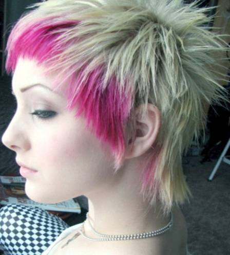 Pink highlights funky hair color