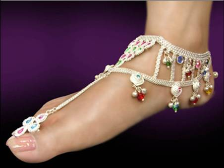 Silver anklet and toe ring