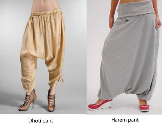 Difference between dhoti pants and harem pants