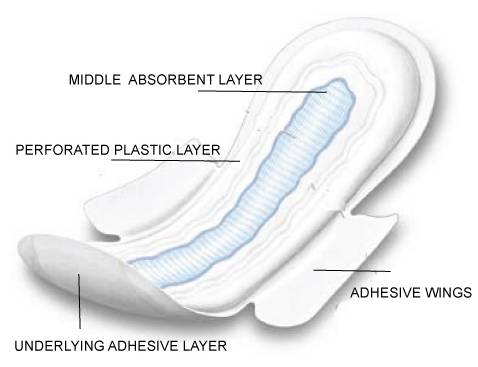 Structure- parts of a sanitary pad