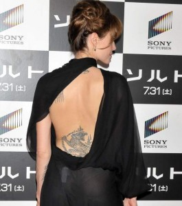 Angelina's sexy black gown