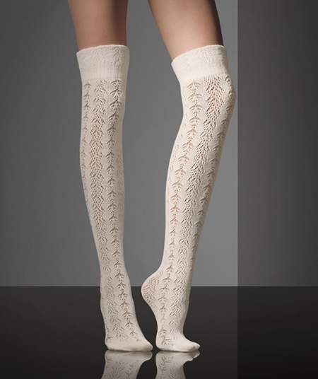 51c2c54f0 White color woolen knee-high socks with cut-out detailing MaxMara Fall 2010-2011  collection