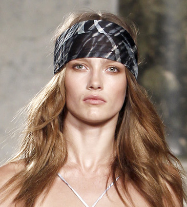Who used the theme – The 70 s retro look is back and how! You have fabric  headbands tied in innovative ways to reflect the themes of bohemian and ... 7dc8a2a3db4