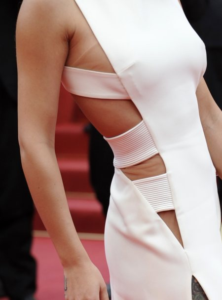 Cheryl cole in white Versace Fall 2010 cut-out gown