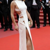 Cheryl cole white Versace Fall 2010 cut-out gown