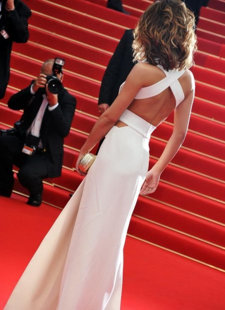 Cheryl cole white Versace cut-out gown