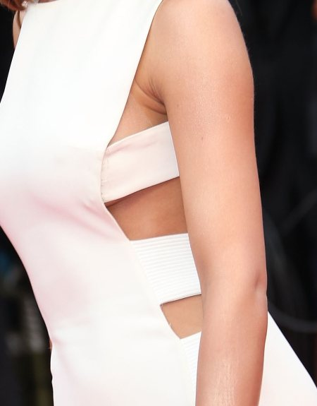 Cheryl cole white bold cut-out gown detailing