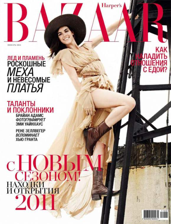 Hilary Rhoda for Harpers Bazaar Russia January 2011 cover
