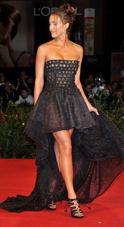 Jessica Alba Valentino black strapledd dress with long train