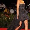 Jessica Alba black strapledd dress with long train