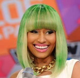 Nicki Minaj green bob hair color