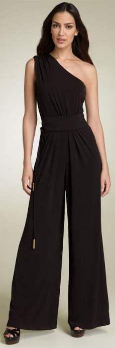9184ee440652 halterneck jumpsuit Formal chic look One-shoulder black jumpsuit for Formal  Chic look ...