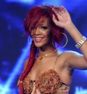 Rihanna red fishplate hairstyle novembe 2010