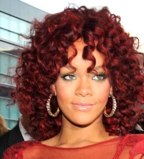 Asovislan Rihanna Red Hair Curly Hair