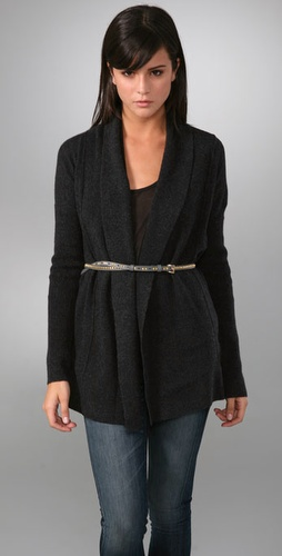 belted wrap cardigan styling