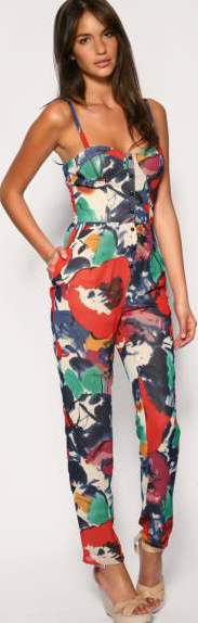 casual Jumpsuits with floral prints fun sporty look