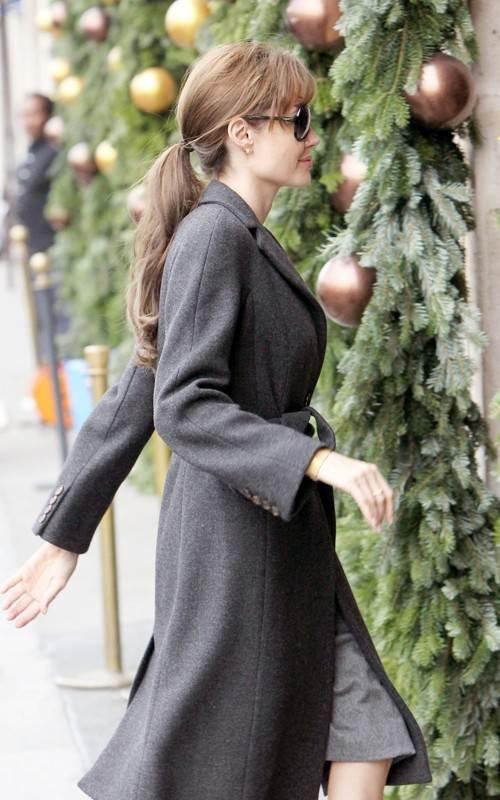 gray overcoat to look hot in winters Angelina jolie style