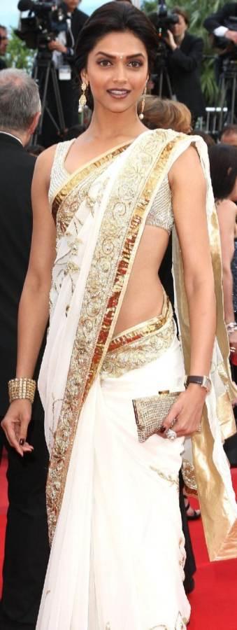saree for A formal morning or night gathering deepika padukone look