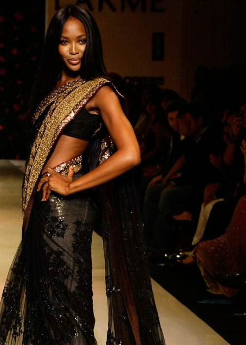 black sheer sari for evening parties