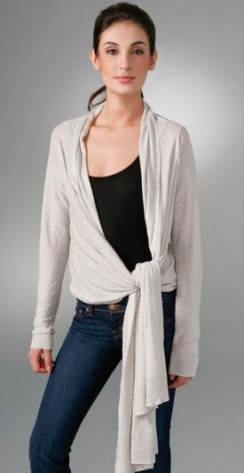 wrap cardigans side knotted style