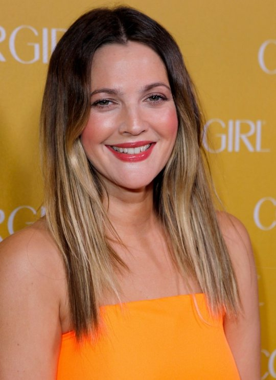 Drew Barrymore hair -makeup covergirl 50th Anniversary Party