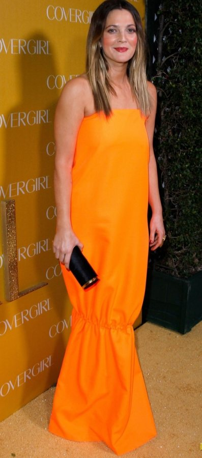 Drew Barrymore orange dress CoverGirl 50th Anniversary Party
