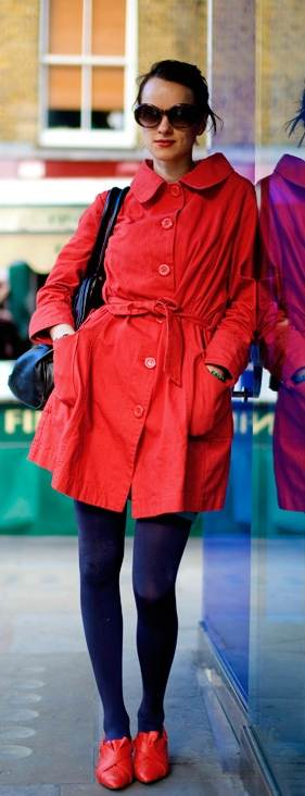 wearing red trench coat with blue tights