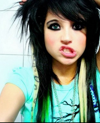 emo style hair girl. Emo can be called the softer,