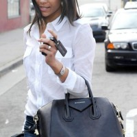 Zoe Saldana in semi-formal street style look