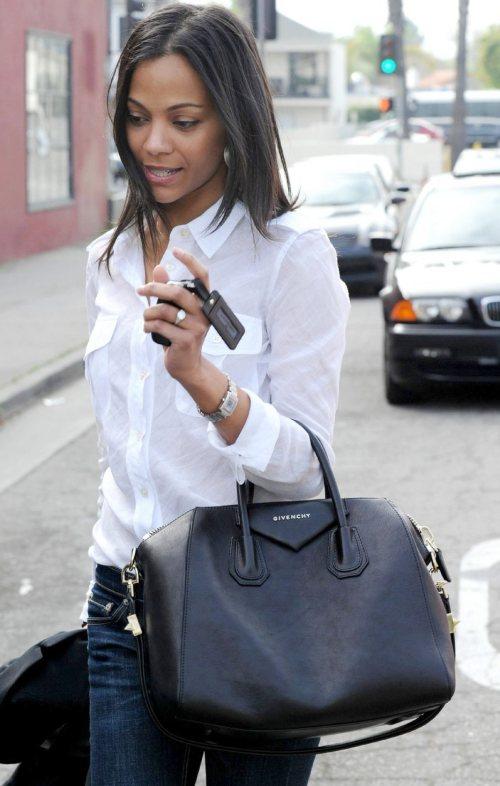 Zoe Saldana in semi-formal street style look