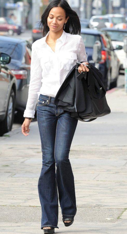Zoe Saldana semi-formal street style look