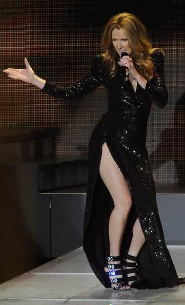 Celine Dion Colosseum Caesars Palace balmain black gown