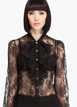 Chantilly lace-sheer lace-top