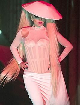 Lady Gaga walks the ramp for Mugler-white dress