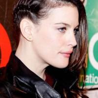 Liv Tyler sports half braided hairstyle
